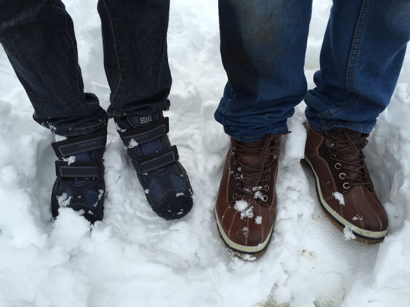 new boots in winter snow